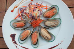 Shellfish. Food Great oysters , New Zealand mussels , clams royalty free stock photography