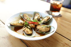 Shellfish makes straight for seafood Royalty Free Stock Images