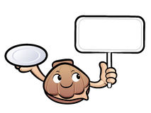 Shellfish Mascot the hand is holding a plate and picket. Clam Ch Stock Image
