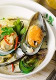 Shellfish mussels in cream sauce with white wine and chili pepper. Royalty Free Stock Photography