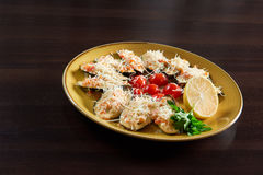 Shellfish mussels served at the restaurant Stock Photography