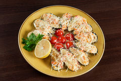 Shellfish mussels served at the restaurant Royalty Free Stock Photo