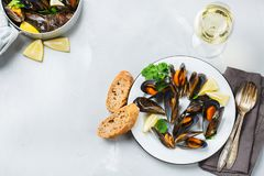 Shellfish mussels with white wine, seafood on a table. Still life, restaurant dinner. Shellfish mussels with lemon and green parsley with white wine. Seafood on Royalty Free Stock Photography