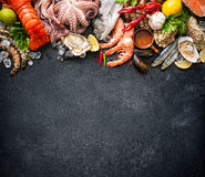 Shellfish plate of crustacean seafood. With fresh lobster, mussels, oysters as an ocean gourmet dinner background royalty free stock photography