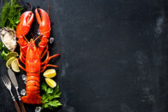 Shellfish plate of crustacean seafood Stock Photos