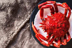 Shellfish plate of crustacean seafood with fresh red crab, lobst Stock Image