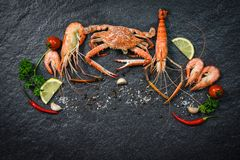 Shellfish seafood plate with shrimps prawns crab ocean gourmet dinner  seafood cooked with herbs and spices. On dark background royalty free stock images