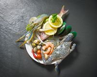 Shellfish seafood plate with shrimps prawns crab shell cockles mussel squid and fish ocean gourmet dinner. / Fresh raw seafood with herbs and spices lemon on royalty free stock image