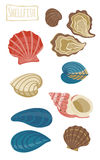 Shellfish, vector cartoon illustration Royalty Free Stock Photos