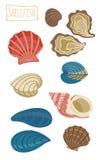 Shellfish, vector cartoon illustration Royalty Free Stock Photos