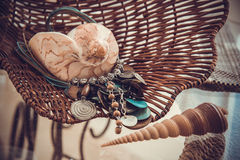 Shells and accessories, sepia colors Royalty Free Stock Photography