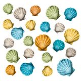 Shells background (vector). Abstract background made to the computer Stock Photos
