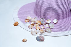 Shells on a Beach Hat Stock Photos