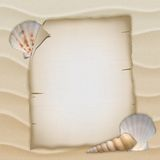 Shells and blank paper sheet Royalty Free Stock Photo