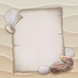 Shells and blank paper sheet Royalty Free Stock Image