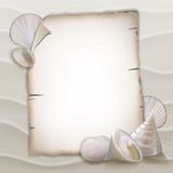 Shells and blank paper sheet Royalty Free Stock Photography