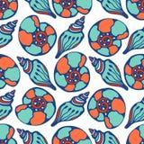 Shells blauw naadloos patroon Het hand getrokken overzeese leven Vectortextuur als achtergrond voor stof, giftdocument, textielen Royalty-vrije Stock Foto's