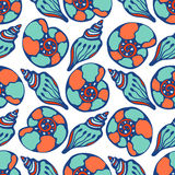 Shells blue seamless pattern. Hand drawn sea life. Vector background texture for fabric, gift paper, textile etc. Royalty Free Stock Photos