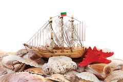 Shells and boat Stock Photo
