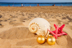 Shells and christmas decorations  on beach Royalty Free Stock Image