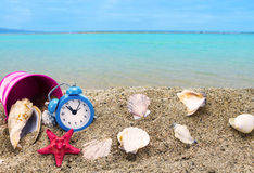 Shells,clock and bucket on sandy beach. With sea in the background Royalty Free Stock Photos
