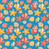 Shells, Coral And Starfish Seamless Texture Royalty Free Stock Images