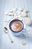 Shells Cup Coffee Background Stock Photo