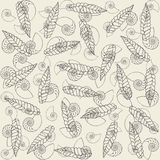 Shells and dry leafes. Pattern Royalty Free Stock Photos