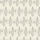 Shells and dry leafes seamless background Royalty Free Stock Photos