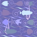 Shells and fish seamless pattern. Shells and fish seamless background with stripes Stock Images