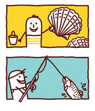 Shells & fishing Stock Photos