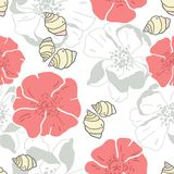 Shells and flowers seamless patern background. Shells and flowers seamless patern on white background Stock Photo
