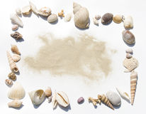 Shells frame with sand Royalty Free Stock Photo