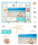 Shells in grungy blue frame Royalty Free Stock Image