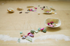 Shells and mother of pearl beads Stock Photography
