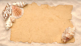 Shells and old paper Stock Image