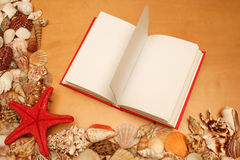 Shells and open book Royalty Free Stock Photo