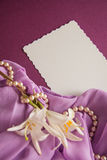 Shells and paper with draperie Stock Photo