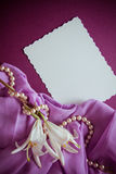 Shells and paper with draperie Stock Image
