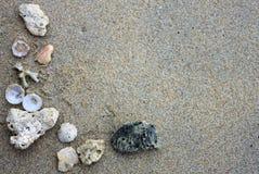 Shells and pebbles borders Stock Photo