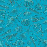 Shells seamless pattern. Seamless pattern with different sea shells Royalty Free Stock Photos
