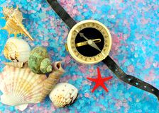 Shells, star and tourist compass on sea salt Royalty Free Stock Photos