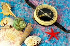 Shells, star and tourist compass on sea salt Royalty Free Stock Photo