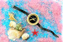 Shells, star and tourist compass on sea salt Stock Images