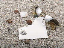 Shells, starfish ,blank paper sheet sunglasses Stock Photography
