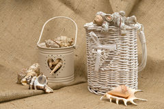 Shells and toy rabbit stock photography