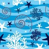 Shells und nahtloses Muster der Starfish Lizenzfreies Stockfoto