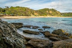 Shelly beach in Nambucca Heads in Australia in the summer royalty free stock photo