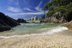 Shelly strand zet Maunganui, Nieuw Zeeland op Royalty-vrije Stock Foto