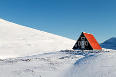 Shelter. Evacuation shelter on top of mountain in the winter Royalty Free Stock Photos